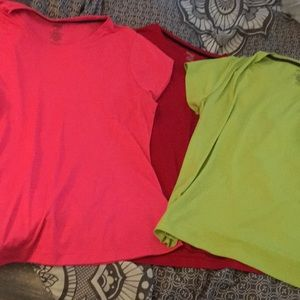3 work out shirts, pink, lime, red